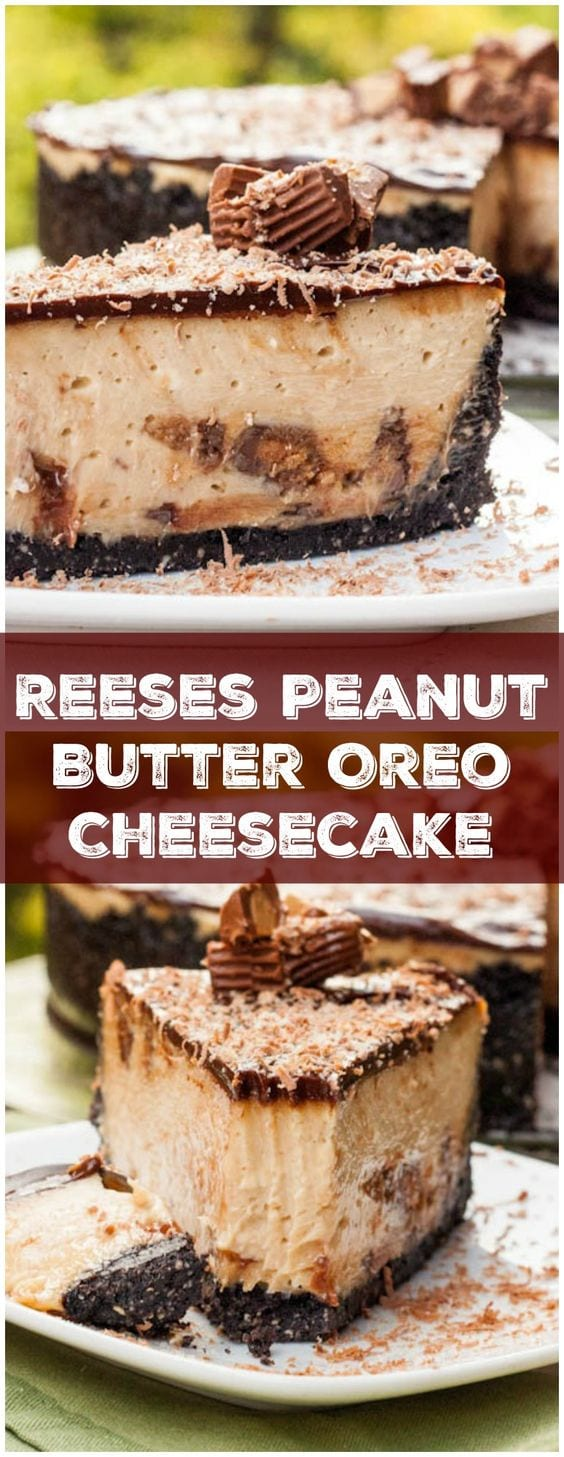Simply the most epic cheesecake of all time - Reeses Oreo Peanut Butter Cheesecake - can you think of a more decadent dessert? #cheesecake #Reeses #peanutbutter #dessert #baking