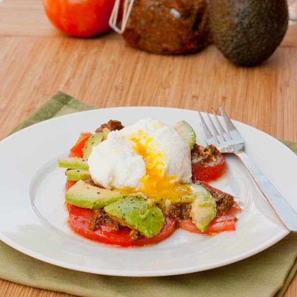 Poached Pesto Eggs with Tomatoes and Avocados