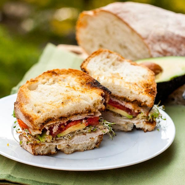 turkey pesto sandwich with avocado and alfalfa sprouts