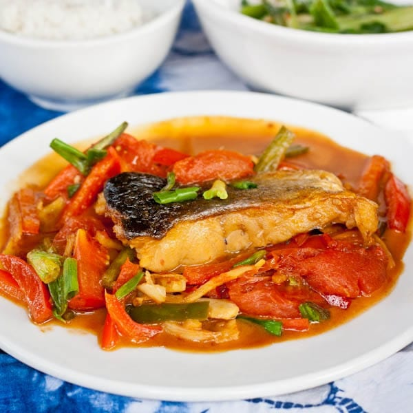 Beer Fish with a tomato based sauce