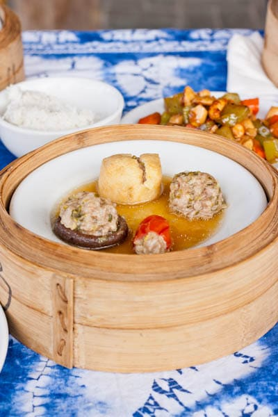 Steamed Stuffed Vegetables with pork stuffed mushrooms