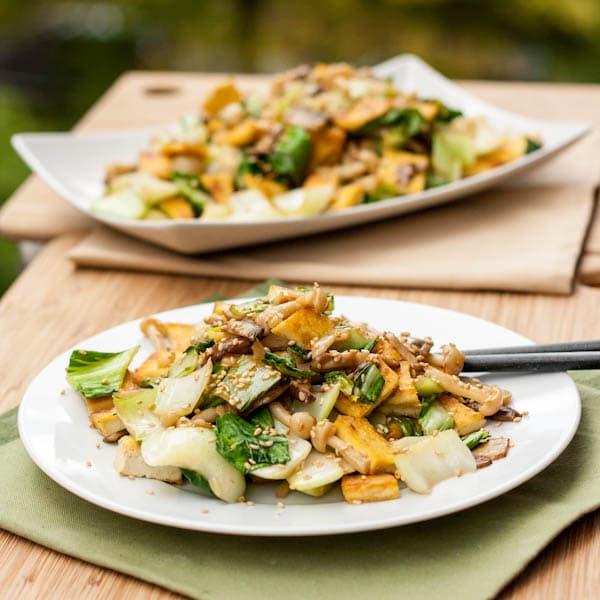 Bok Choy Tofu Mushroom Stir Fry {Gluten-Free, Vegan}