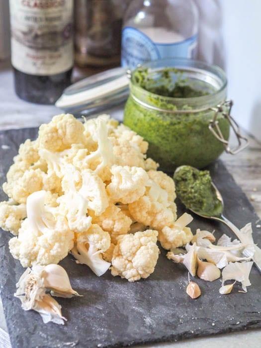 Ingredients used to make vegan cauliflower mashed potatoes