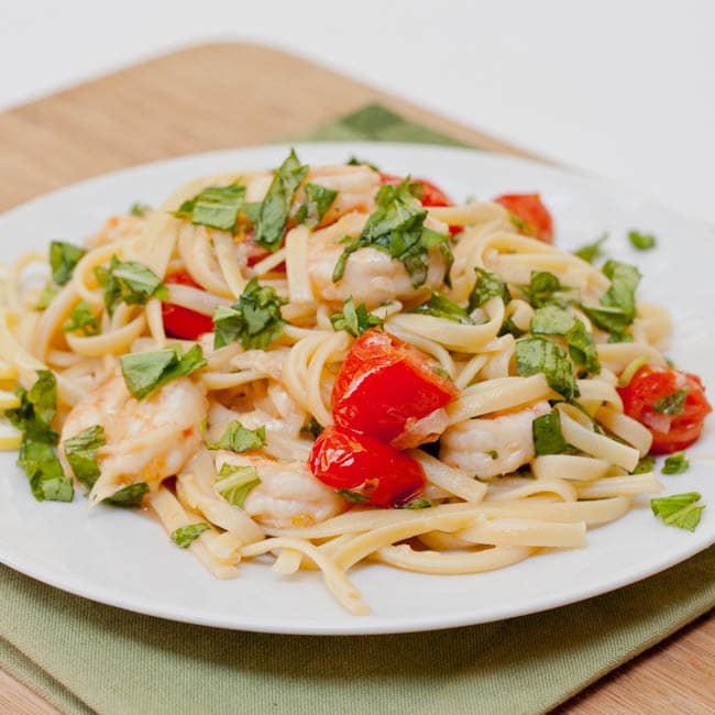 Shrimp Scampi pasta ready to eat