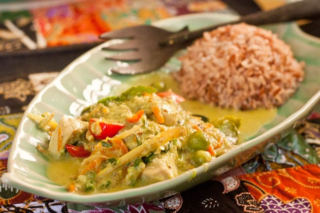 Thai chicken green curry ready to eat
