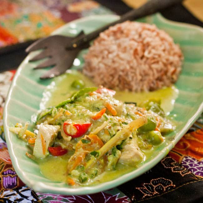 Thai chicken green curry served with brown rice