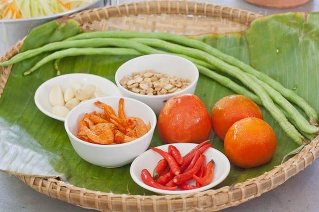 ingredients for the Thai green papaya salad