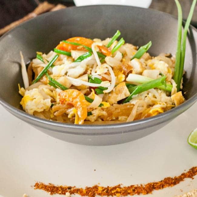 Gluten Free Pad Thai with shrimp