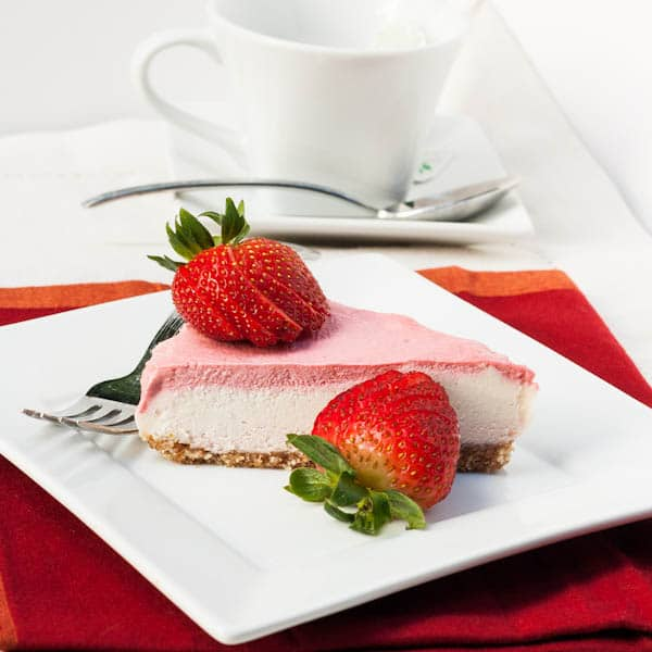 vegan cheesecake with strawberry topping