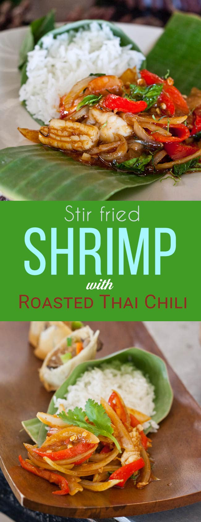 Shrimp stir fry recipe comes together in 30 minutes and is going to be your new favorite seafood packed dinner. The magic is created by the roasted Thai chili paste. An incredible sauce that smells like caramelized shallots and tastes even better. A gluten Free and Dairy free dinner.