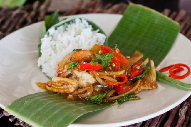 Thai Shrimp stir fry with calamari