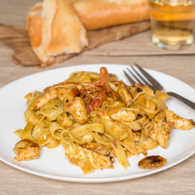Chicken with Creme Fraiche and Pesto Tagliatelle Recipe