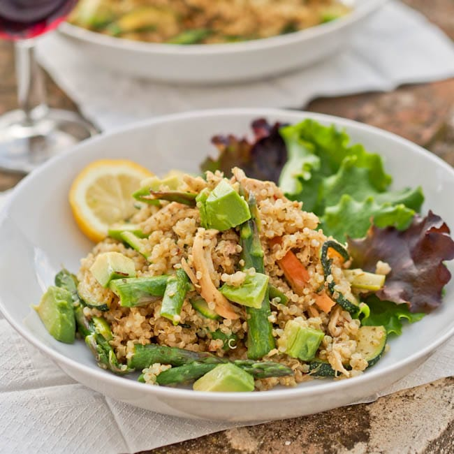 Quinoa with Pesto, Veggies and Chicken {Gluten-Free, Dairy-Free}