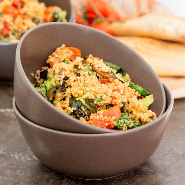 Vegan Hot Quinoa Salad with Balsamic Vinegar {Gluten-Free, Vegan}