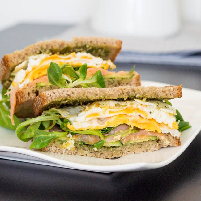 Fried Egg and Salmon Sandwich for Breakfast {Gluten-Free, Dairy-Free}