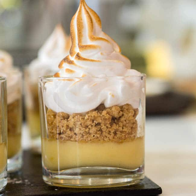 Deconstructed Lemon Meringue Pie served in a shot glass