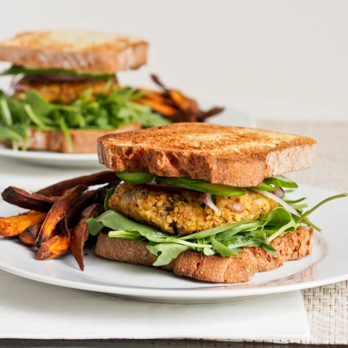 Chickpea Zucchini Burgers with a side of sweet potato fries