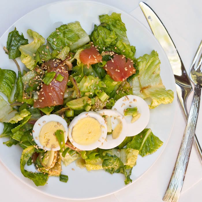Smoked Salmon Avocado Salad with hard boiled eggs and Asian dressing