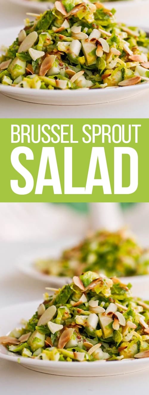 Brussel Sprout salad recipe with apples and almonds. Gluten Free & Vegan. Crunchy, crispy and with a sharp tangy dressing. A healthier alternative to the standard lettuce based salads.