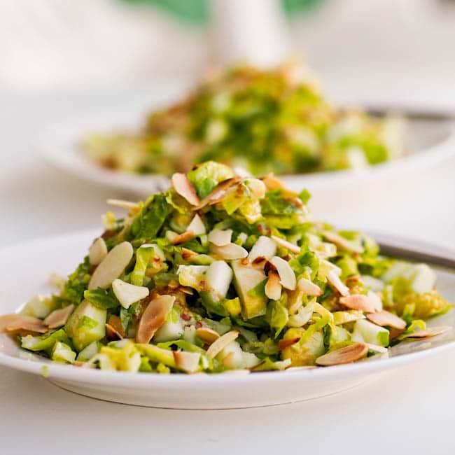 Brussel Sprout Salad with Apples and Almonds {Vegan, Gluten-Free}