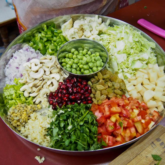 Vegetable Biryani ingredients in a tray
