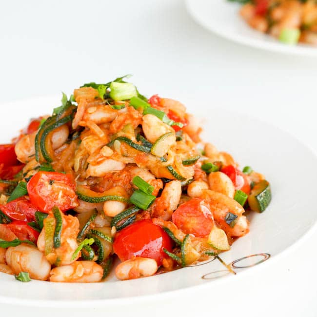 Zucchini Ratatouille with Sun-Dried Tomatoes & White Beans {Vegan, GF}