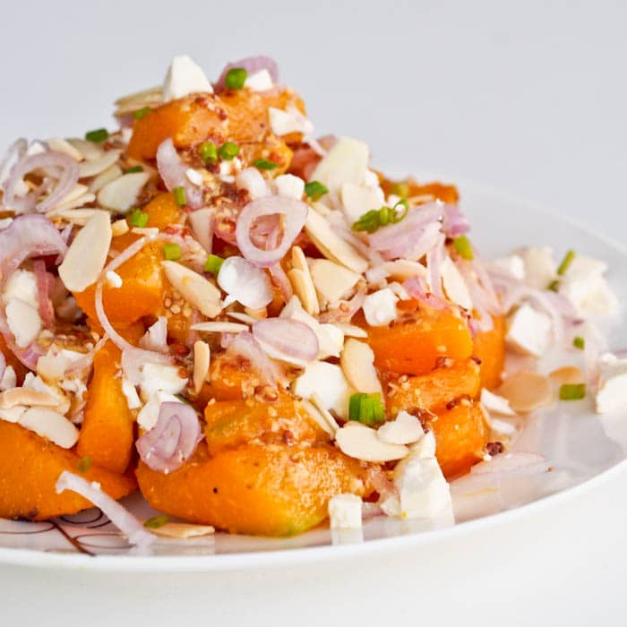 Squash Salad with Feta, Almonds and Red Onions