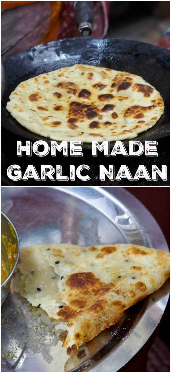 An authentic recipe for the classic Indian flat bread - garlic naan. My all time favorite bread for dipping into rich and creamy Indian curries. Only 4 ingredients required  One of the most popular recipes on my blog that readers LOVER! #bread #naan #garlic