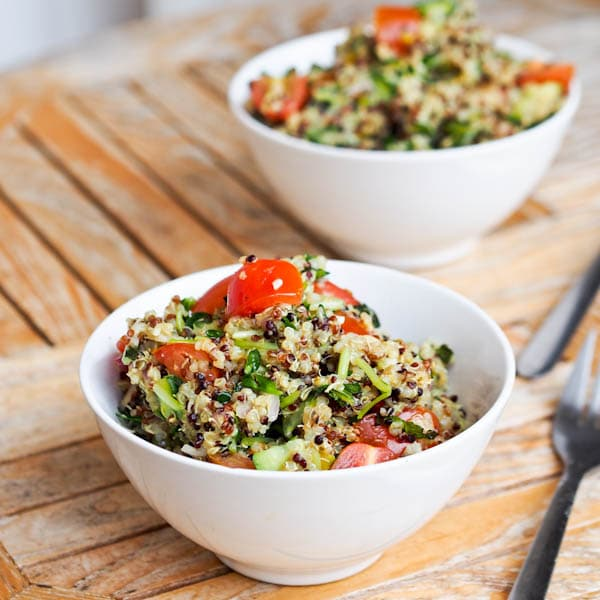 Quinoa with Fresh Veggies and a Lemon Pesto Sauce