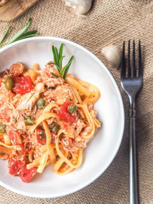 Creamy tomato chicken pasta with shredded chicken