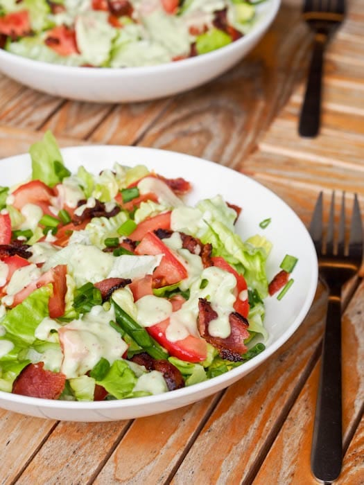 BLT salad with creamy vegan avocado dressing