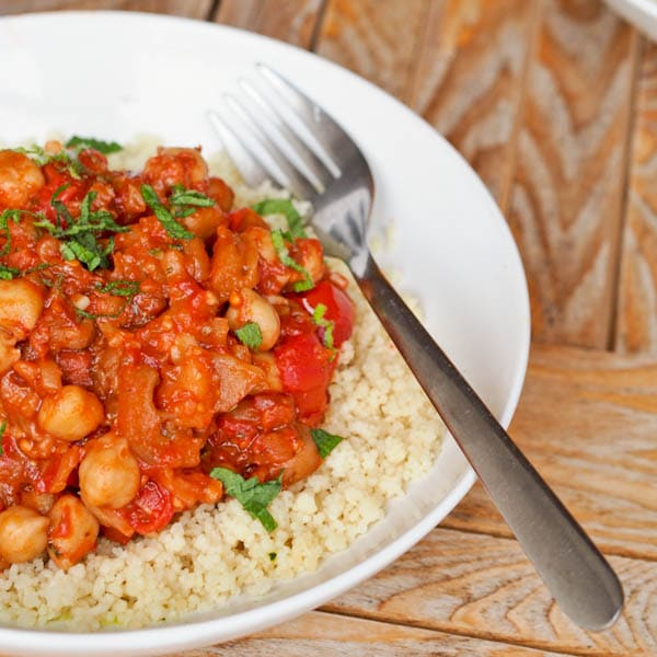 Eggplant Ragout with Tomatoes and Chickpeas