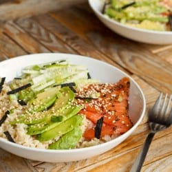 Sushi Bowl with Smoked Salmon, Avocado and Edamame