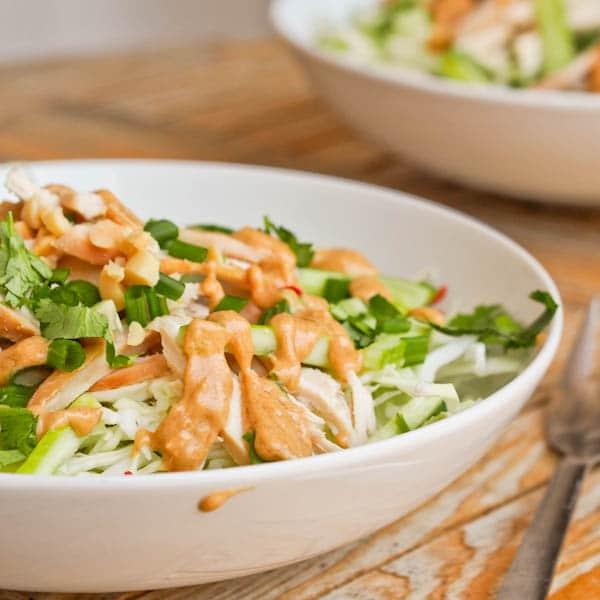 Thai chicken salad ready to eat