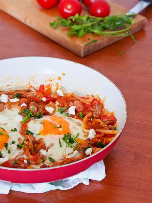 Pulled Pork Eggs Breakfast Skillet