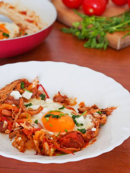 Pulled Pork and Eggs Breakfast Skillet