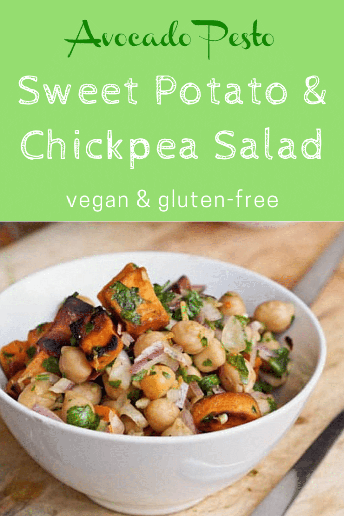 bowl of sweet potato chickpea salad with fork