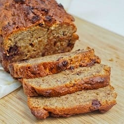 One Bowl Vegan Gluten Free Banana Bread with Dark Chocolate Chips