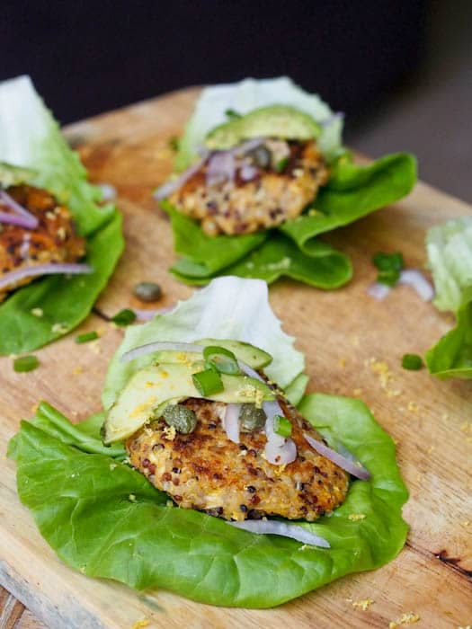 Vegan Sweet Potato Squash Burgers in lettuce wraps