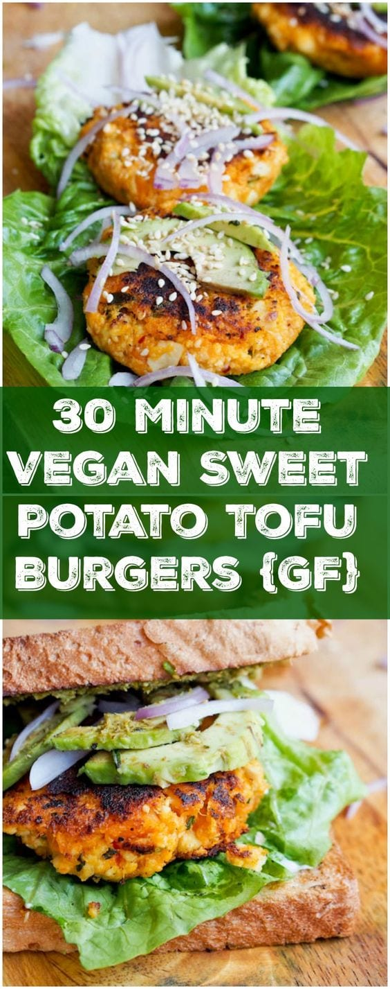 These vegan + gluten free sweet potato tofu burgers are ready in 30 minutes and only require 3 key ingredients (+ a medley of spices). Soft, and tender on the inside while lightly crispy on the outside, and full of flavor. #vegan #burger #veggieburger #tofu #healthy #glutenfree