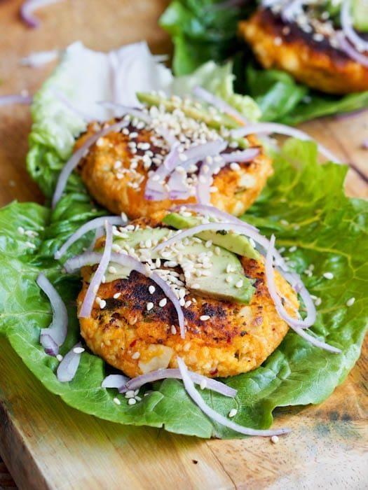 Tofu burger served in lettuce wraps