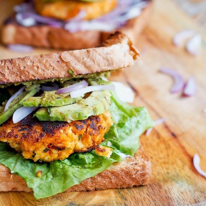 Vegan Sweet Potato Tofu Burger