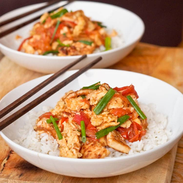 Tomato Eggs Stir Fry with Tofu