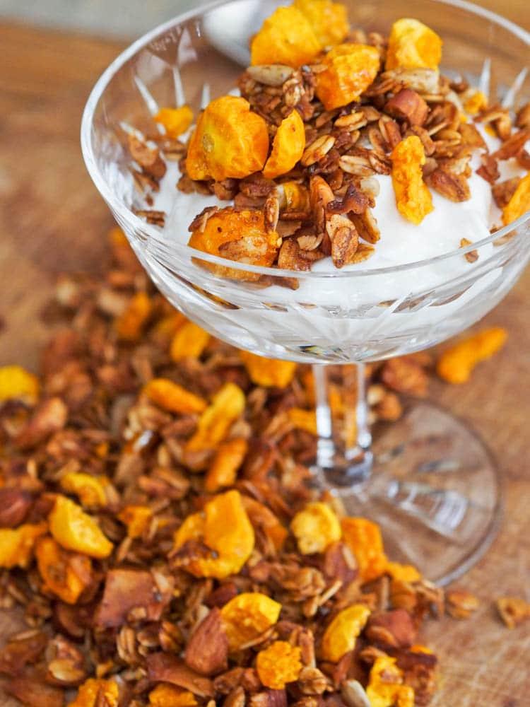 Freeze Dried Golden Berry Granola on Yogurt