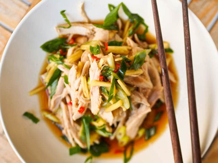 Shredded Chicken Recipe with an Asian flair topped with with Ginger Sauce makes for a simple and delicious meal with tender, fall off the bone chicken and an Asian based spicy and fragrant ginger and tamari flavored sauce. The thinly sliced green onions give this dish an added crunch. Gluten-Free and Dairy-Free.