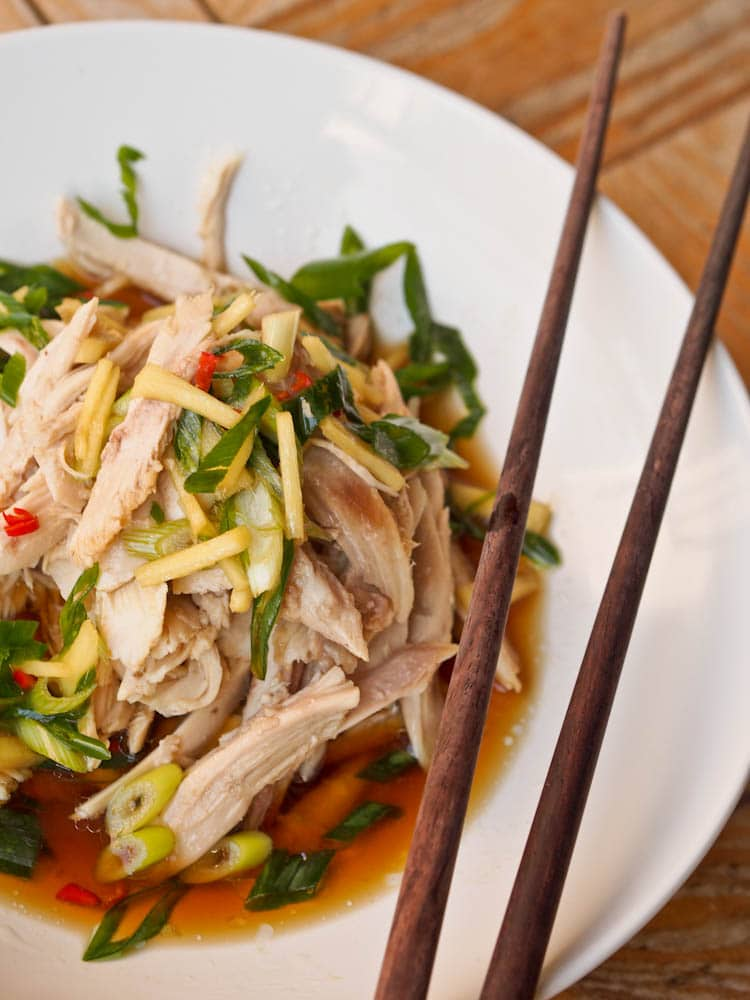 Asian Shredded Chicken Recipe with an Asian flair topped with with Ginger Sauce makes for a simple and delicious meal with tender, fall off the bone chicken and an Asian based spicy and fragrant ginger and tamari flavored sauce. The thinly sliced green onions give this dish an added crunch. Gluten-Free and Dairy-Free.