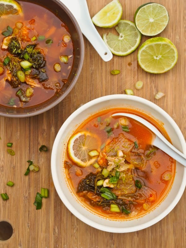 Chicken Kimchi Soup with green onions and lime