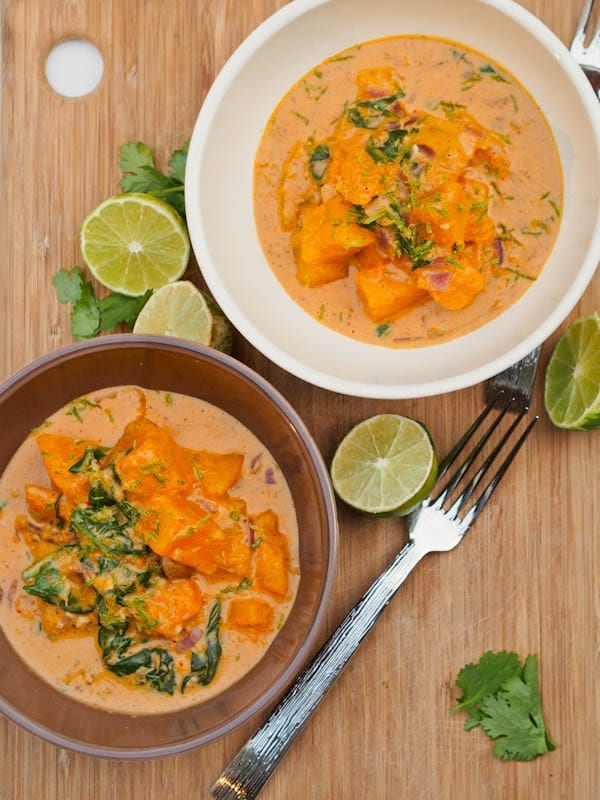 Vegan Butternut Squash Curry with Spinach Coconut {Gluten-Free}