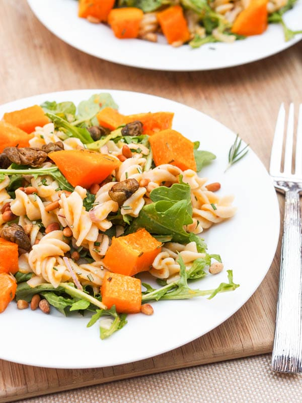 Vegan Roasted Squash Pasta with Arugula and Pine Nuts