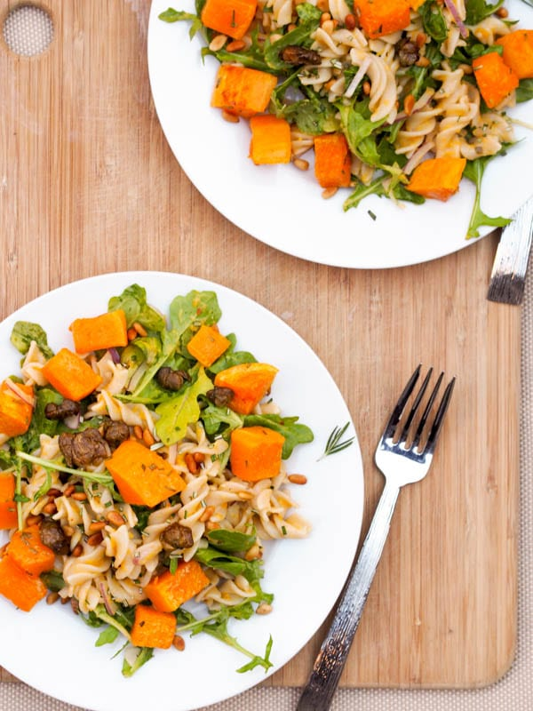 roasted squash pasta with arugula